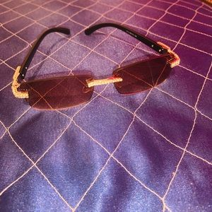 Bussdown Rimless  Diamonds Sunglasses Brown tint